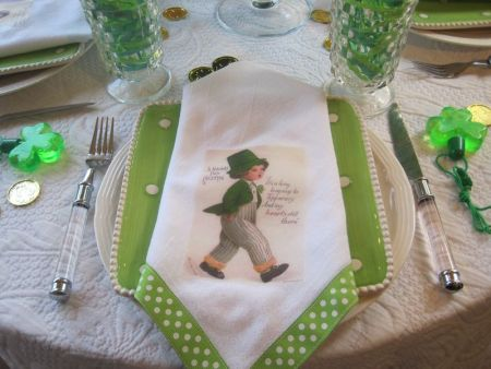 vintage St. Patrick's Day images ironed onto festive green ribbon edged napkins for a table setting OpulentCottage