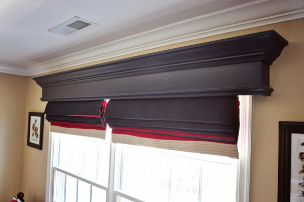 DIY wood window cornice box hides window shade or blind hardware