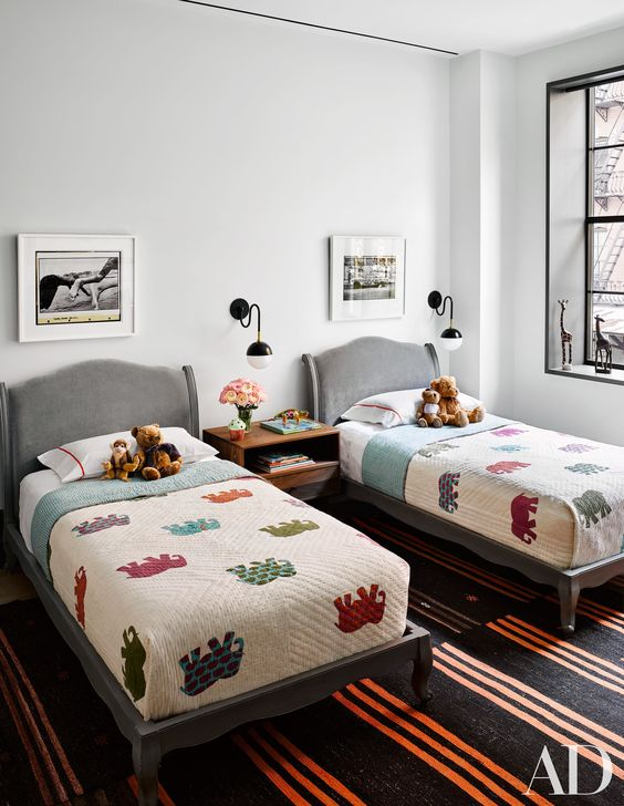 Shared Kids Space Inspiration -- a simple space, with a punchy colored comforter!