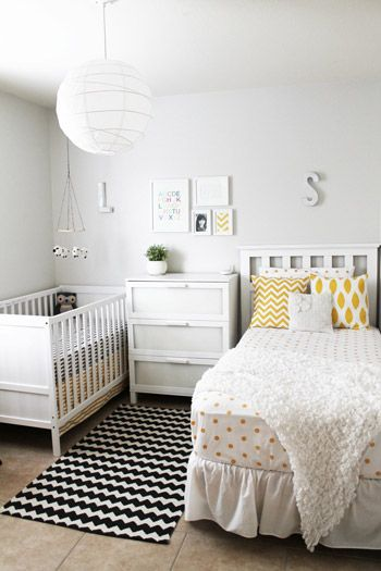 Shared Kids Space Inspiration - crib plus a twin bed, for a baby and a sibling