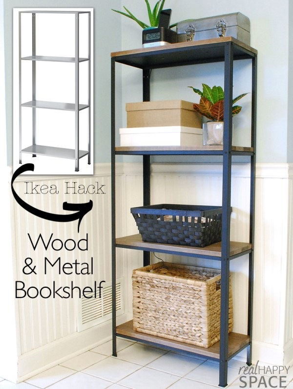 Easy and inexpensive DIY metal and wood bookshelf, by Real Happy Space featured on @Remodelaholic