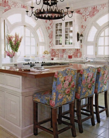 Floral Barstools at kitchen island Designed by Betsy Schmitt hydrangea hill cottage