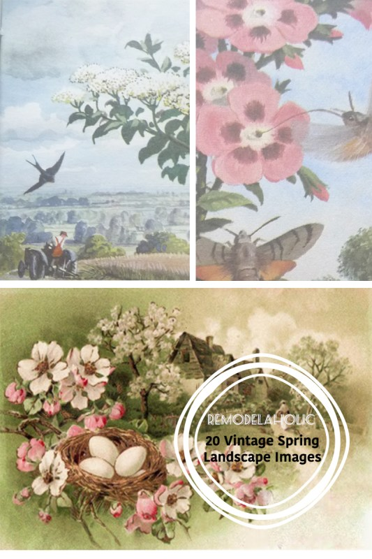 Welcome spring with simple decor changes by printing and framing these free vintage spring landscapes, filled with flowers and cottages and butterflies. Easy and beautiful!