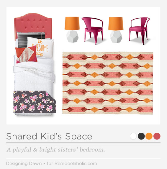 Beautiful Shared Kids Space, playful and bright room for sisters | DesigningDawn on Remodelaholic.com