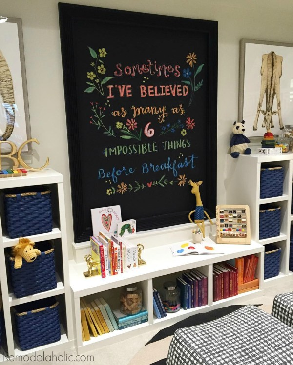 Simple and organized playroom via @Remodelaholic