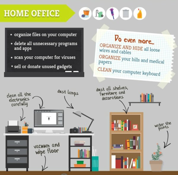 Tips and tricks for spring cleaning a home office