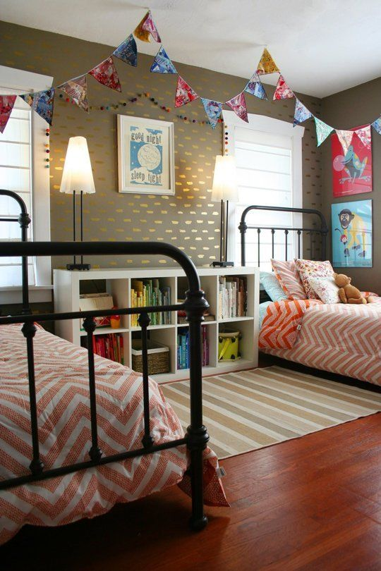 Shared Kids Space Inspiration -- pennants from the ceiling! too cute