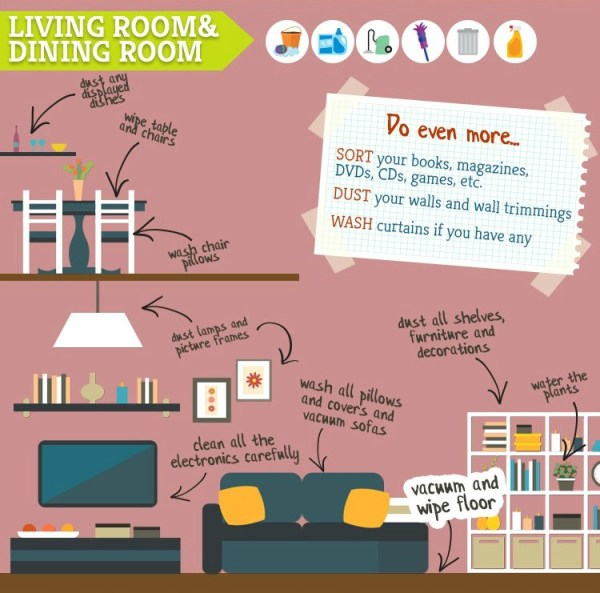 spring cleaning tips and tricks for the living room and dining room
