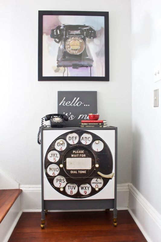 RAST dresser hacked to look like an old rotary phone, so cute! 2 Bees in a Pod