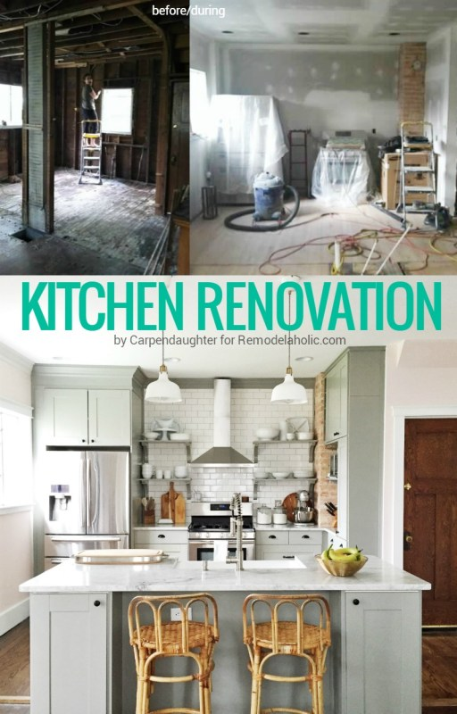 This kitchen renovation is AMAZING! She took out a wall, exposed the brick wall, and redesigned the whole kitchen. IKEA cabinets in gray, plus subway tile and open shelving, plus a huge farmhouse sink in the island. Dream kitchen. By Carpendaughter for @Remodelaholic