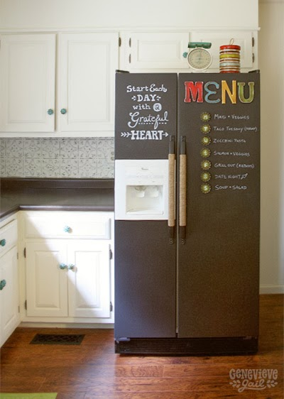 Chalkboard menu fridge via Genevive Gail