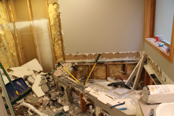 bathroom demo before remodel and wood plank walls