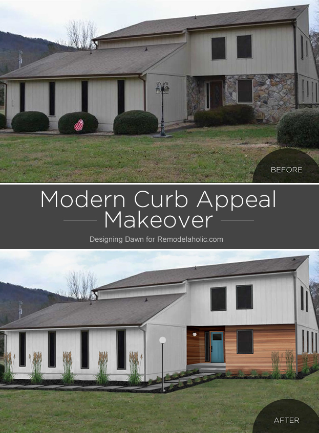 An older boxy home gets a new look and some modern curb appeal in this dream-big mock-up by Designing Dawn!