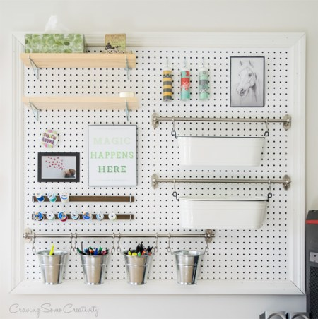 Remodelaholic 24 awesome diy wall organization stations another pegboard option this office supply organizer utilizes a neutral pallet of only three colors and repeating horizontal elements to create cohesion solutioingenieria Image collections