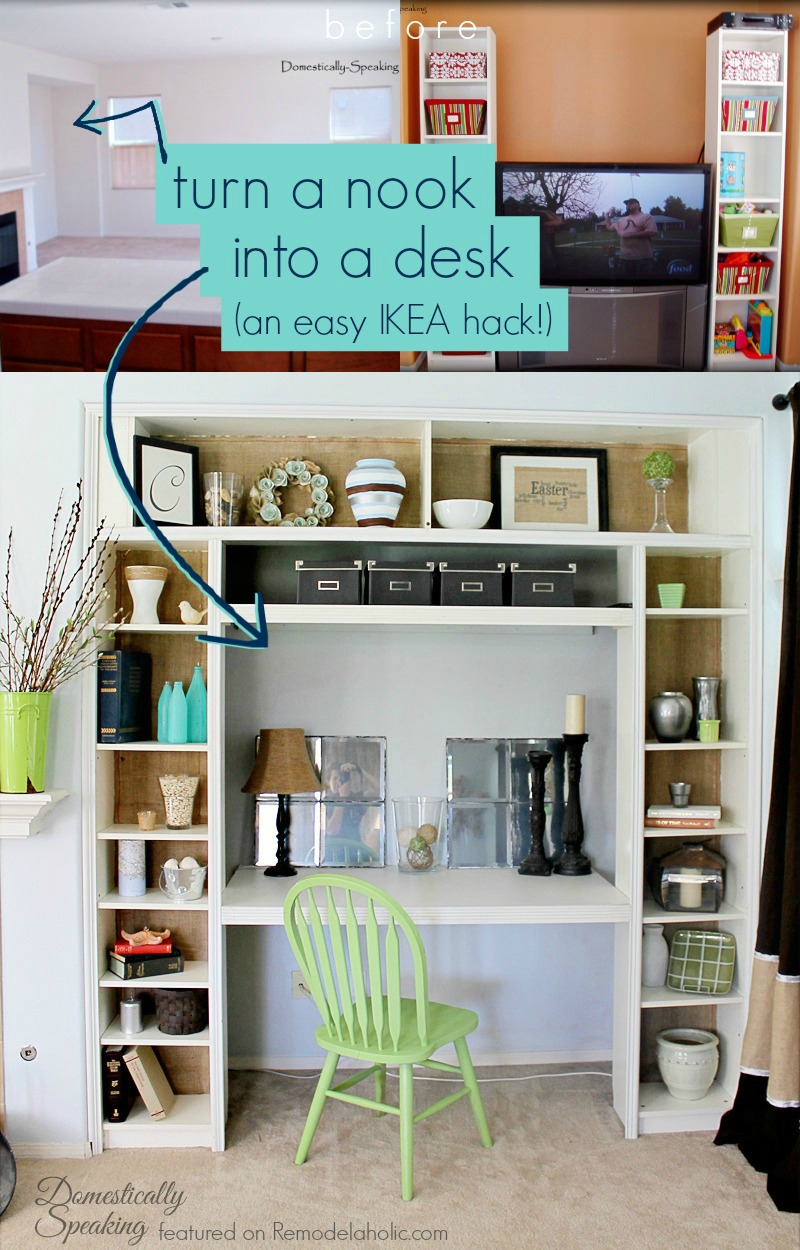 Remodelaholic Ikea Bookcase To Built In Desk Nook Hack
