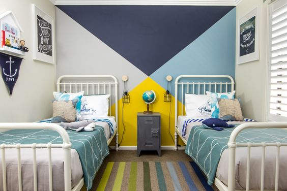 Shared boys room inspiration - love the geometric colorful wall