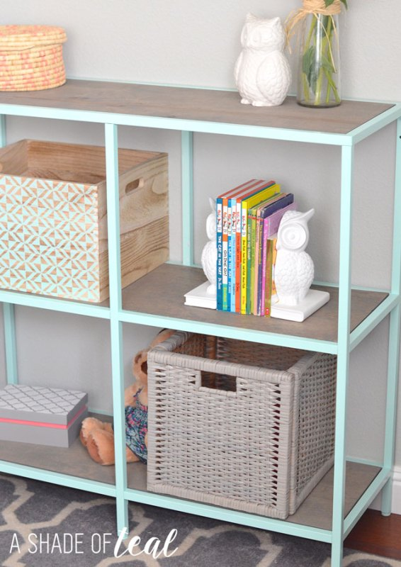 Easy IKEA metal and wood shelf hack, A Shade of Teal