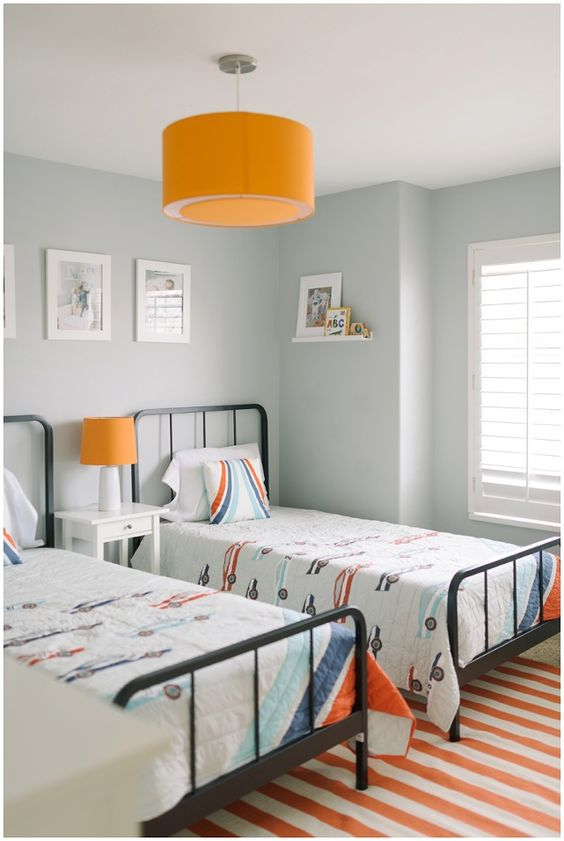 Shared boys room inspiration - love all the orange!