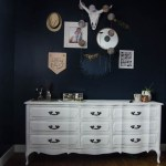 Moody Navy Bedroom with Chalk Spraypainted(!) Dressers