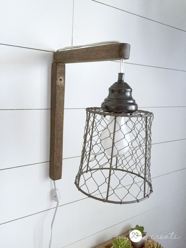 Remodelaholic | 4 Easy Rustic Farmhouse DIYs + April Link ... on Plugin Wall Sconce Lights id=95545
