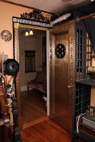 steampunk door via offbeathome