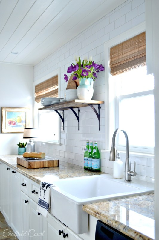 Amazing DIY white kitchen make-over, how to install a plank ceiling, by Chatfield Court featured on @Remodelaholic
