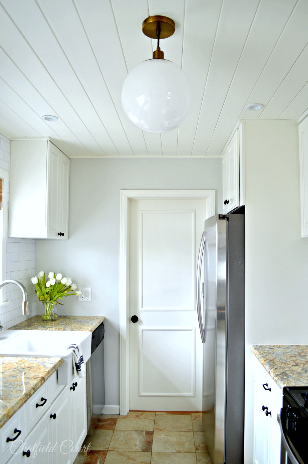 Complete Kitchen Makeover, Plank Ceiling DIY, By Chatfield Court Featured  On @Remodelaholic