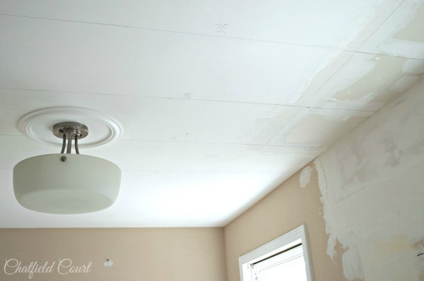 DIY plank ceiling, kitchen remodel, by Chatfield Court featured on @Remodelaholic