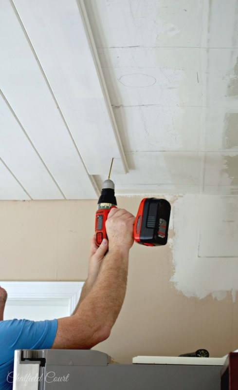Plank board ceiling DIY, how to hide the screws, by Chatfield Court featured on @Remodelaholic