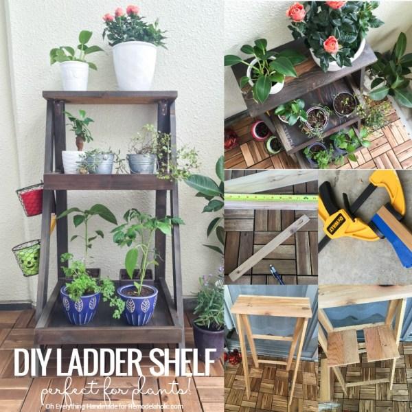 DIY Plant Ladder Shelf @Remodelaholic