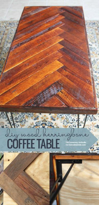 DIY wood herringbone coffee table full tutorial @Remodelaholic