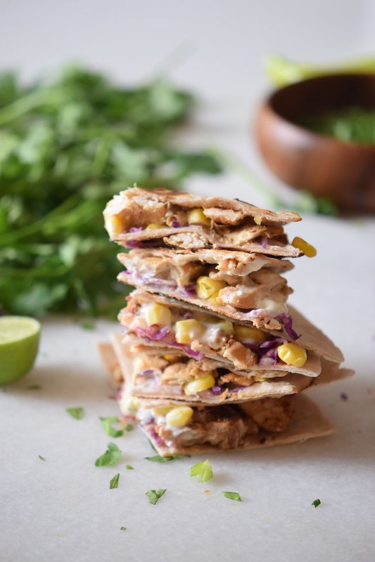 Chicken Taco Quesadillas Recipe using corn, cabbage and cheese