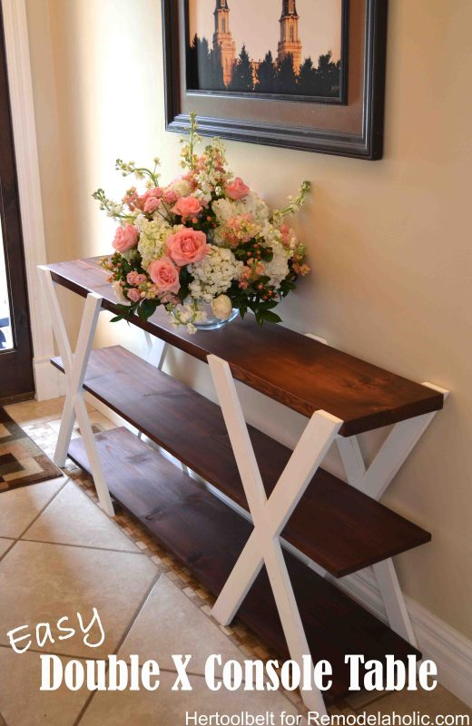 Easy DIY double X wood farmhouse console table woodworking plans, Remodelaholic