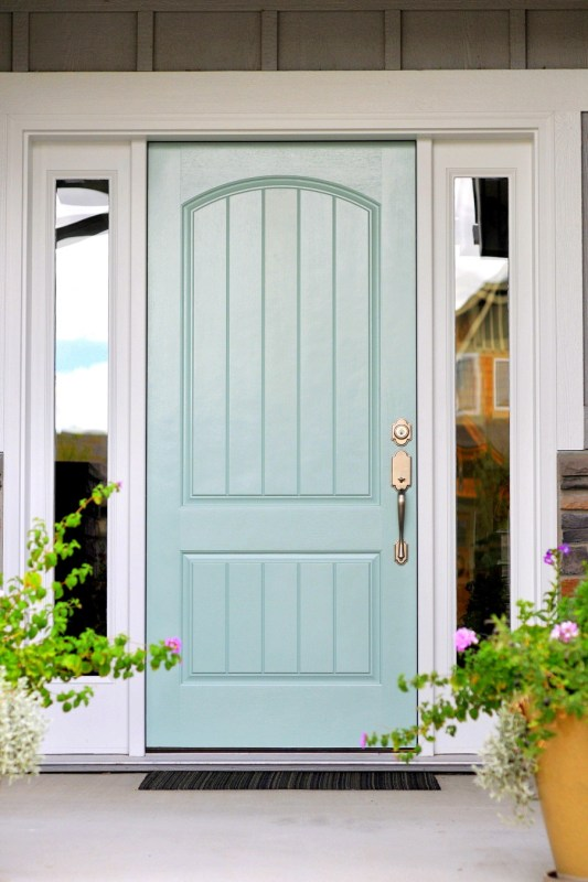 Front door painted with Wythe Blue from Benjamin Moore. Perfection!