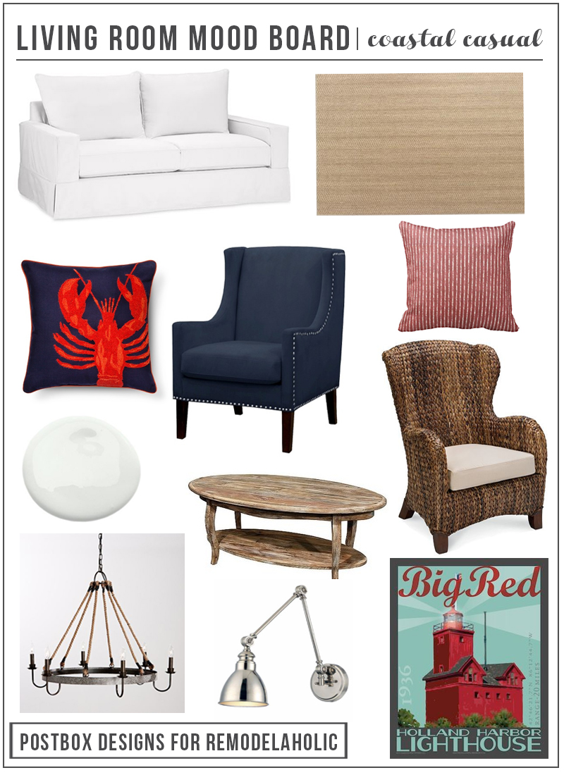 Create a comfortable coastal casual living room with these tips and furniture picks, plus learn decorator's tips for designing a layout for a room with little available wall space, such as an open floor plan or a room with lots of windows.