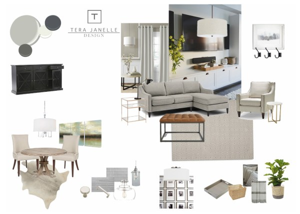 Beautiful neutral and cohesive grown-up style for an open plan dining room and living room | Tera Janelle Design - Dining Room Design Board for Remodelaholic.com