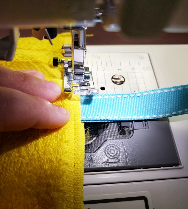 Sewing the tie side onto a shower caddy