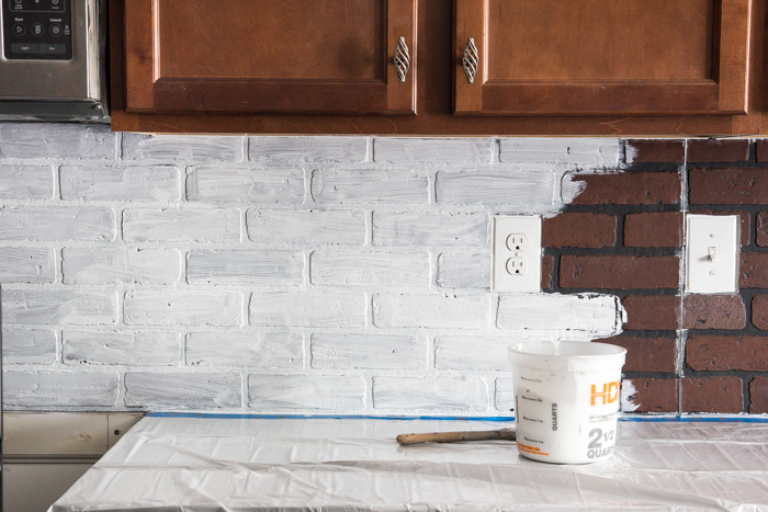 Whitewashed faux brick backsplash (12 of 18)