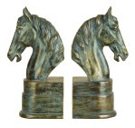 aged bronze horse bookends