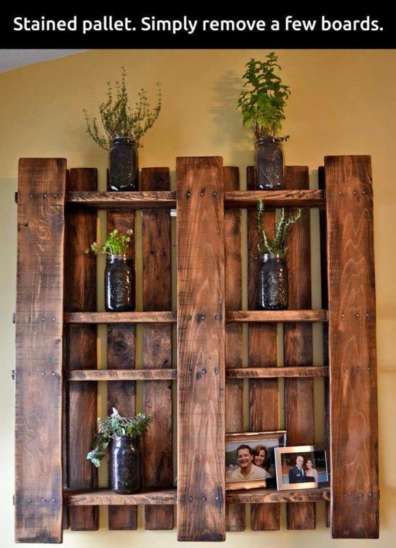 easy pallet upcycle, just remove a few boards to make a wall shelf display