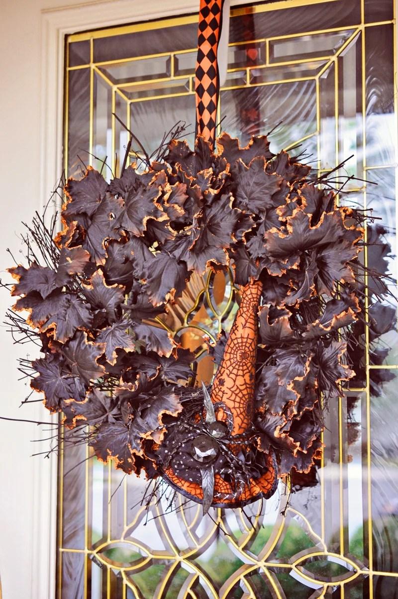 Black and orange glitter leaf wreath | Simple Halloween Decor Ideas and Tutorials at Remodelaholic.com