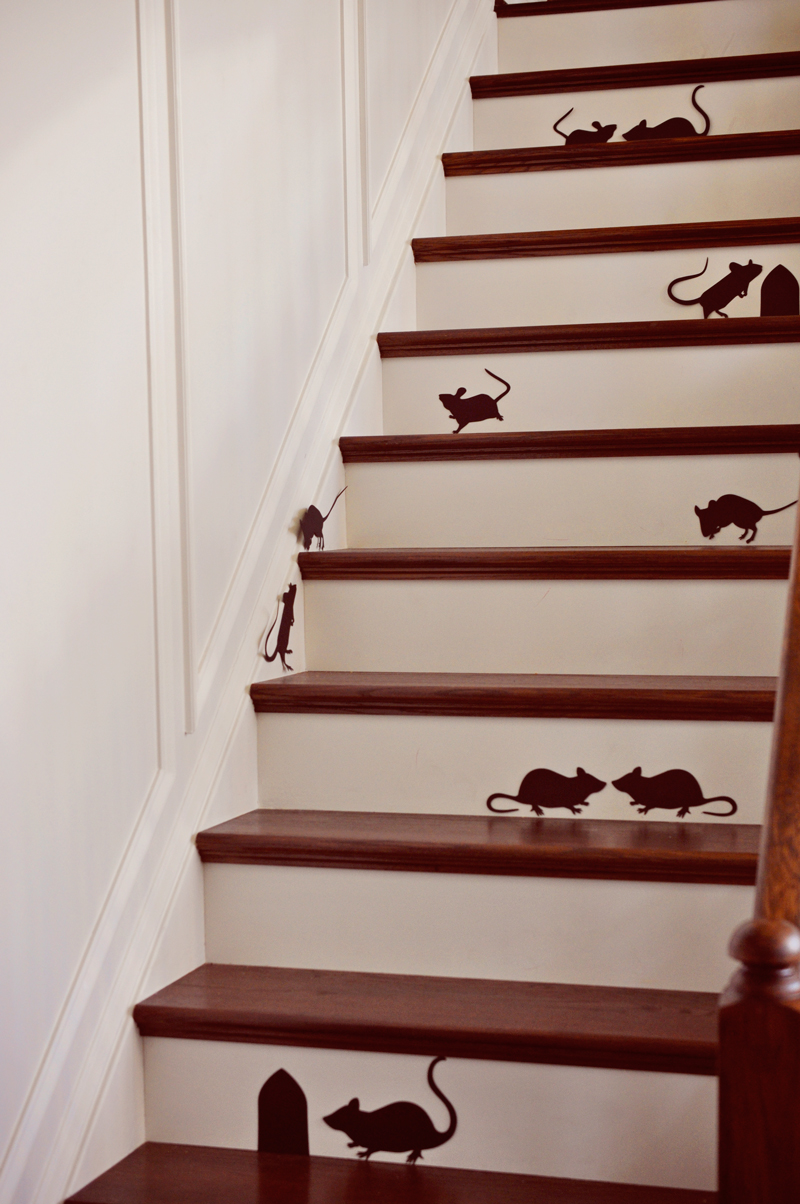 Easy spooky mice silhouettes on the stairs | Simple Halloween Decor Ideas and Tutorials at Remodelaholic.com
