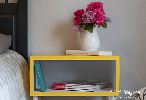 Tutorial for a boxy, modern side table by A Crafted Passion featured on @Remodelaholic