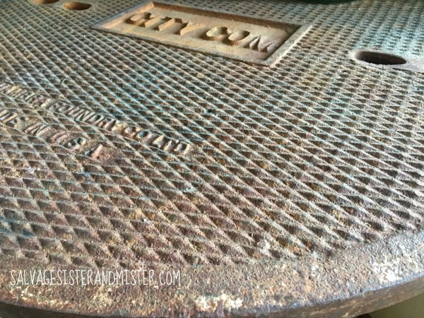 Upcycled junk DIY'ed into industrial table by Salvage Sister and Mister featured on @Remodelaholic