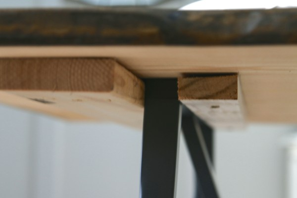 Trestle legs for dining table that can be easily moved, live edge table, a tutorial by Windgate Lane featured on @Remodelaholic