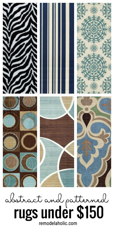 Affordable abstract and patterned rugs under $150 via remodelaholic.com