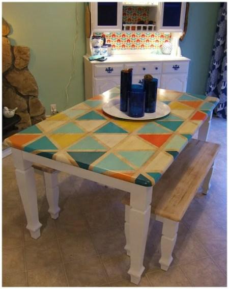 DIY Triange Pattern Kitchen Table Paint-018