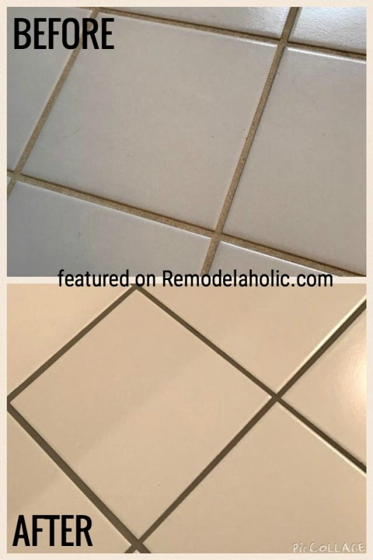 Delorean Gray Grout Dye Before And After Featured On Remodelaholic.com