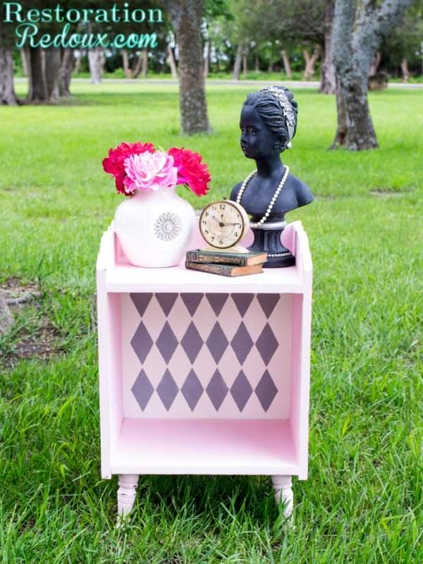 Harlequin-Pink-Sidetable Restoration Redoux