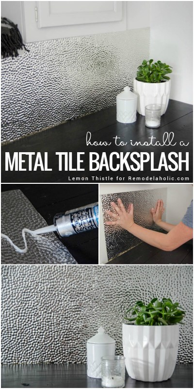 Learn how to install a unique and modern (but easy to clean!) metal ceiling tile backsplash for a laundry room or kitchen. Tip #1: It's all about using the right adhesive! Get all the details from Lemon Thistle on Remodelaholic.com